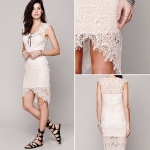 Free People | Beige Peek A Boo High Low Lace Dress